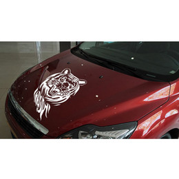 Wholesale Car Spares - Black And White New Arrival 60CM Large Creative Personality Tiger Stickers Reflective Car Hood Spare Stickers CEA_300