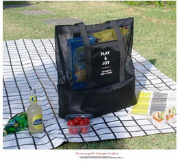 Wholesale Pack Lunch Cooler - Fashion Beach Cooler Bag outdoor picnic backage kichenware storage mesh tote bag cooler bag beach lunch pack picnic package