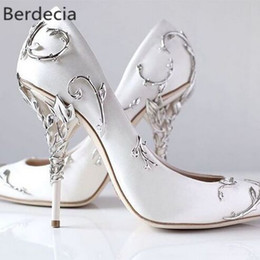 Wholesale Ornamental Flowers - Ornamental Filigree Leaves Spiralling Naturally Up Heel White Women Wedding Shoes Chic Satin Stiletto Heels Eden Pumps Bridal