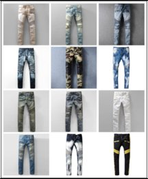 Wholesale Men S Denim Trousers - Distressed France Fashion Pierre Straight Jeans Men's Biker Jeans Hole Stretch Denim Casual Jean Men Skinny Pants Elasticity Ripped Trousers