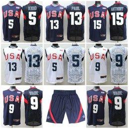Wholesale Men Shirts Navy - 2017 USA Dream Team Jerseys Shorts #5 Jason Kidd Jersey 13 Chris Paul #9 Dwyane Wade #15 Carmelo Anthony Shirts Navy White Stitched Jerseys