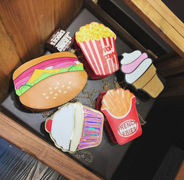 Wholesale Solid Silver Cross Chain - 2017 Summer New Personality Creative Chain Bag Cute Hamburgers Hand Bags Ice Cream Pu Cross Body Girls Bags #B07