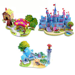 Wholesale Castle Toy For Girls - Brinquedo Education Jigsaw Puzzles For Kids Children Toys Developmental 3D DIY Puzzle Lovely Paper Castles Houses TY0002