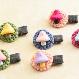 Wholesale Hair Weave Holder - Random color Korea Hair Styling accessories Hand hooks Weave Lace Hairpin Cute children Cartoon Small mushroom birthday present Issuing card