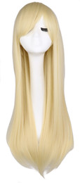 Wholesale Men Blonde Wig Hair - Women Men Long Straight Cosutme Party Blonde Wig Cosplay 80 Cm High Qulaity Synthetic Hair Wigs