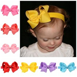 Wholesale Headband Baby Ribbon Bows - 20 Color Infant Girls Headband Elastic Bands Ribbon Bows Tiara Baby Headbands Hair Accessories 20pcs lot