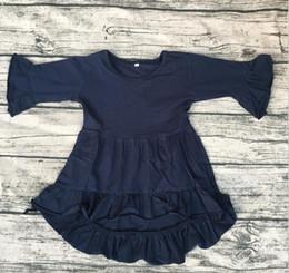 Wholesale Tunic Tops Ruffles - kids baby high low top dress wholesale Girls boutique long sleeve tunic fashion Ruffle design