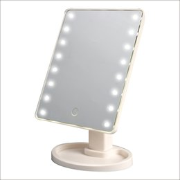 Wholesale 16 Led Screen - Touch Screen 16 LED Lighted Makeup Mirror 180 Degree Rotation Touch Screen Make Up Mirror Cosmetic Folding Portable Compact Pocket With LED