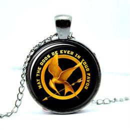 Wholesale Hunger Games Wholesale - 10pcs lot Hunger Games Catch Fire Necklace Pendant, Jewelry Glass Photo Cabochon Necklace 2998