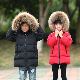 Wholesale Children Duck Down - Boys Winter Jacket Children Duck Down Long Section Jacket girls Warm Coat Kids Down & Parkas Coat Fur Hooded Outerwear Clothing