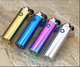 Wholesale Ignition Lighters - Round Stick Metal Twin Arc Ignition Double Arc Pulse Windproof Rechargeble Cigarette Cigar Lighter