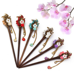 Wholesale Order Wholesale China - new arrival The new diamond chrysanthemum wood hairpin bridal plate hairpin headdress fashion retro FZ028 mix order 20 pieces a lot