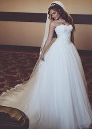 Wholesale Dropped Waist Wedding Dress Tulle - Charming A-Line Lace Wedding Dresses 2017 Country Wedding Dress Bridal Gowns With Sweetheart Neck Lace-up Back Dropped Waist Plus Size