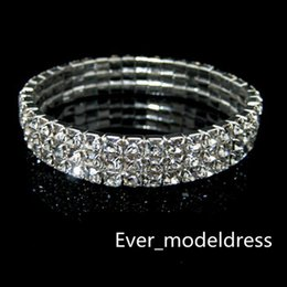 Wholesale Low Price Wedding Dresses - 3 Row Rhinestone Bangle Wedding Bracelets Bridal Jewelry Cheap Bracelet for Wedding Party Evening Prom Dress hot sale low price