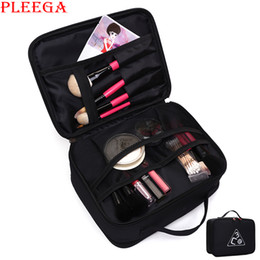 Wholesale Professional Makeup Carrying Case - Wholesale- New professional makeup carrying case Women cosmetic makeup bag Double layer travel Cosmetic bag make up organizer Beauty bags