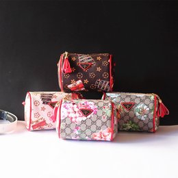 Wholesale Checkered Purse - Children Bags Girls Fashion Princess Handbags Childs Girls floral printed plaid Bags Kids Lattice purse Bags children L*Handbags A0257
