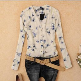 Wholesale Bird Print Chiffon - 2016 Summer Ladies Tops Fly Bird Print Chiffon Blouses Women Clothes 2016 Casual V-Neck Long Sleeve Camisa Feminina Women Blusas