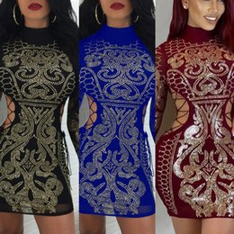 Wholesale Tight Long Sleeved Dresses - Autumn Winter Hollow Out Vestidos Sexy Geometric retro Rhinestone high-necked long-sleeved tight dress party Mini dress M2271