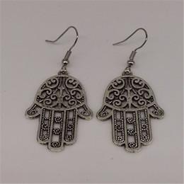 Wholesale Cheap Hamsa Jewelry - Women Girl fashion Cheap brand silver hollow Hamsa hand alloy dangle earrings pendientes brincos cc ali express jewelry MY-105