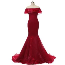 Красные полы онлайн-2017 Sexy Red Bateau Русалка вечерние платья с оборками органзы длиной до пола плюс размер выпускного вечера знаменитости платья BE04