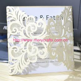 Invitaciones de boda de lujo online-Al por mayor-50pcs / lot elegantes invitaciones de boda corte láser invitación de la boda de marfil