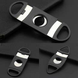Wholesale Double Cigar Cutter - Pocket Plastic Stainless Steel Double Blades Cigar Cutter Knife Scissors Tobacco Black Free DHL In Stock WX-C22