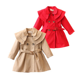 Wholesale trench outerwear - Causal baby girl trench coat European solid cotton trench jacket for 1-6years girls kids children outerwear coat clothes hot