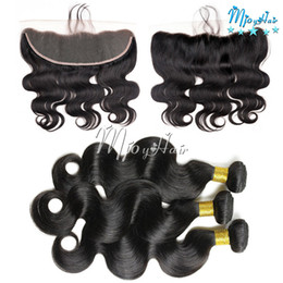 Wholesale Hair Extensions Indian 1pcs - Indian 3Pcs Body Wave Virgin Human Hair Extensions With 1Pcs Lace Frontal,13*4 Ear to Ear Lace Frontal Closure With Hair Wefts Bundles