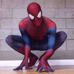 Wholesale Making 3d Movies - The Amazing Spiderman Costume 3D Original Movie Halloween Spandex Spiderman Superhero Costume Fullbody Zentai Suit