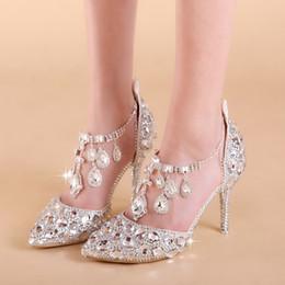 NOVITÀ Eleganti Scarpe da sposa nuziali Pompe da sposa Fibbia di cristallo Scarpe con tacco alto Strass Perla Spumante da sposa Scarpe da principessa Big Siz da