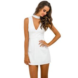 Wholesale Mini Dressed Office Girls - Black halter v neck sexy summer dress Women sleeveless white office casual dress Girls evening party short vestidos de fiesta 17501