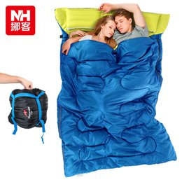 Wholesale Lovers Sleep - Wholesale- Naturehike couple double sleeping bag with pillows outdoor camping indoor lunch break portable Adult lover warm sleeping bag