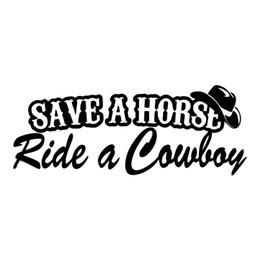 Lastwagen heckscheibenabziehbilder online-Speichern Sie ein Pferd Fahrt ein Cowboy Funny Country Vinyl Aufkleber Auto Styling Aufkleber Stoßstange Auto LKW Fenster Grafiken JDM