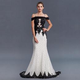 Wholesale long thin prom dresses - New Arrive Elegant Bateau Thin Straps Black Lace Applique Long Evening Dress Black Beaded Floor Length Mermaid Prom Formal Party Dress