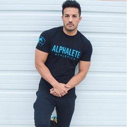 Wholesale Hot Workout Clothes - Hot ALPHALETE Strong Muscle Men T-shirts Fashion Gym Training Fitness Crossfit T shirt Workout Short sleeve Brand Tees Tops Clothing 7 color
