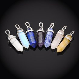 Wholesale Mix Cat Eye Pendant - Mini Hexagon Prism Pendants Gemstone Cat Eye Opal etc Pendant Jewelry Fashion Clothes Accessories Women Mens Jewelry Mix Order