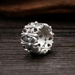 Wholesale Vintage Silver Man Ring - Brand new 925 sterling silver jewelry American Europe vintage style thick ring for men and women cross designs gift wholesale free shipping