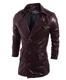 Wholesale Synthetic Breasts - HOT sale Leather windbreaker PU Jackets hoodie clothes men Outerwear patchwork Winter parka Coats Men's Clothing Apparel mix order