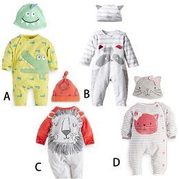 Wholesale High Quality Baby Clothes Wholesale - 4 Designs infant Kids Cotton 2 Piece Set Long Sleeve Romper + hat High Quality baby Climb clothing cow lion boys girls Romper