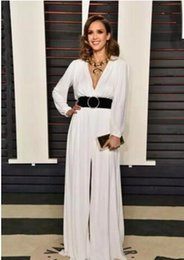 Wholesale Jessica Alba Red Carpet - 2017 Oscars Jessica Alba Party Celebrity Dresses Deep V neck with Long Sleeve Sweep train Front Split Black Belt Formal Evening Prom Gowns