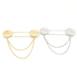 Wholesale Tassel Brooch Pin - Fashion Unisex Jewelry For Men Women Gold Round Chain Tassel Big Brooch Large Lapel Pin Shirt Collar Chain Clip Lots 12Pcs