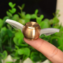 Wholesale Metal Hand Fans - Newest Spinner Golden Snitch Fans Fidget Spinner Metal Finger Spinner Anti Relieve Stress Hand Toys With Metal Box