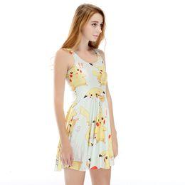 2019 vestidos de pikachu Al por mayor- 2017 Nuevas Ventas Calientes Popular Lady Lovely Cartoon Pikachu Impresión Diseño Pure Color Vestido sin mangas vestidos de pikachu baratos