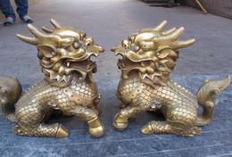 Chinesische löwenhunde statuen online-Chinese Fengshui Messing Kupfer Foo Dog Wächter Lion Beast Drachen Kylin Statue