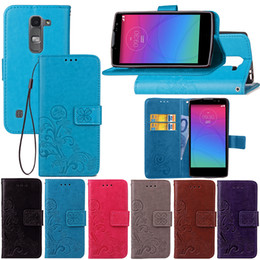 Wholesale Magnetic Spirit - Wallet Cases for LG Spirit PU Leather Covers Knurling Lucky Four Leaf with Magnetic Buckle Card Slot Hand Strap