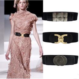 2019 botones de estilo cinturilla elástica del estilo del cinturón de las mujeres el botón cc con el vestido de las mujeres con el sello ancho de la cintura botones de estilo baratos