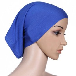 Wholesale Ladies Head Cover - Wholesale-1 Pc 2016 Fashion Lady Muslim Cotton Hijab Cap Islamic Head Wear Hat Women's Head Scarf Cotton Underscarf Hijab Cover Headwrap