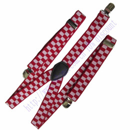 Wholesale Mens Clip Y Suspenders - Wholesale- Men's suspenders mens braces Wide Fashion Women`s White Red Checker Unisex Clip-on Y-back Elastic Suspender