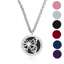 """Wholesale Butterfly Locket Pendant - YB Jewelry 316L Stainless Steel Jewelry, Essential Oil Diffuser Necklace Locket Pendant,with 24"""" Chain and 6 Washable Pads Butterfly"""