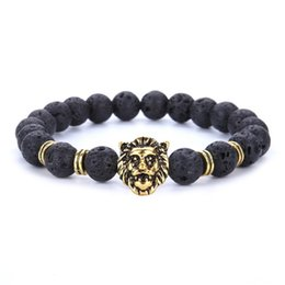 Wholesale Natural Gold Jewelry - New Bursts Buddha Beads Hand String 8mm Volcanic Stone Natural Stone Agate Beads Men Women jewelry Gold Plated Lion Head Bracelet Whosale